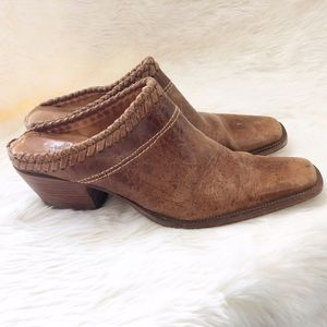 Charlie 1 Horse Brown Leather Slide Mules